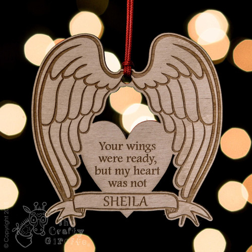 Personalised Angel Wings Remembrance Decoration