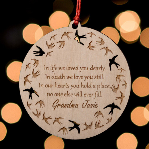 Personalised Swallows Remembrance Decoration