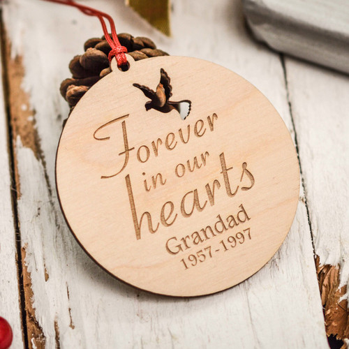 Personalised Forever in our hearts Remembrance Decoration