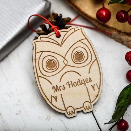 Personalised Owl Christmas Decoration