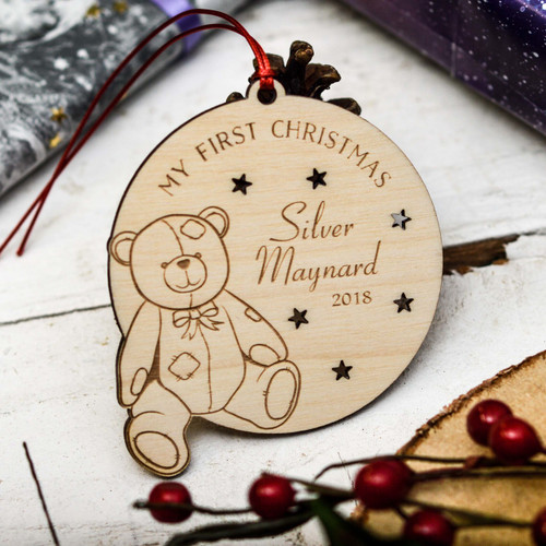 Personalised My First Christmas Teddy Bear Decoration