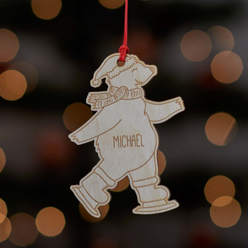 Personalised Ice Skating Polar Bear Decoration.