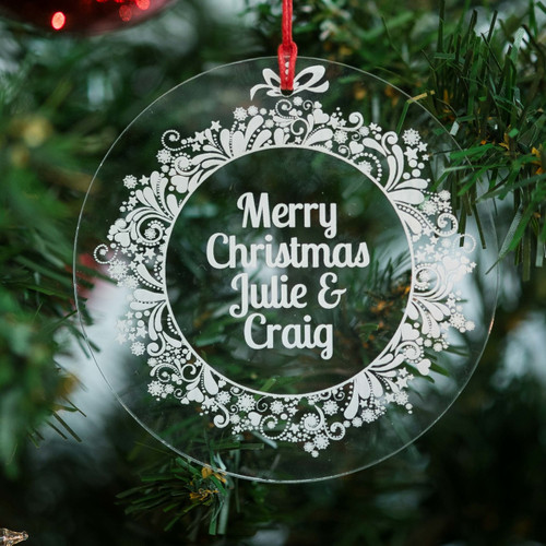 Personalised Sparkly Wreath Bauble