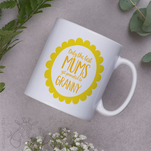 Personalised - Only the best mums get promoted to Mug - Yellow flower