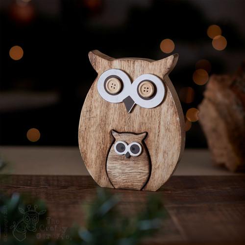 Standing Wooden Owl