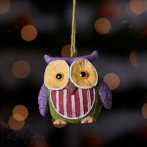 Knitted Owl - Purple ear