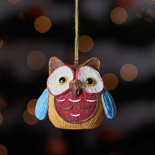 Knitted Owl - Brown ear