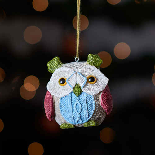 Knitted Owl - Green ear