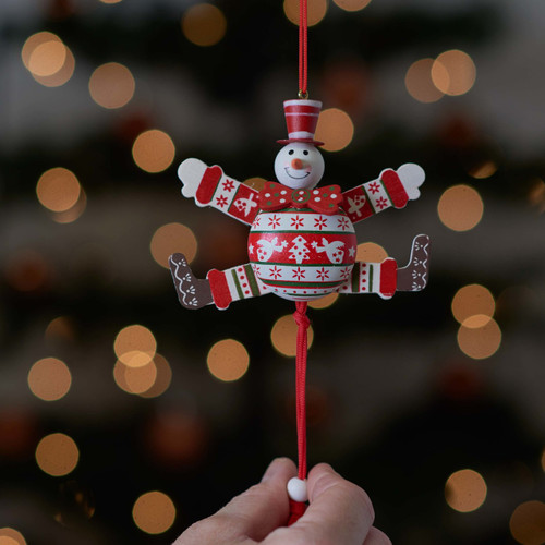 Christmas Red Bow Tie Snowman Jumping Jack