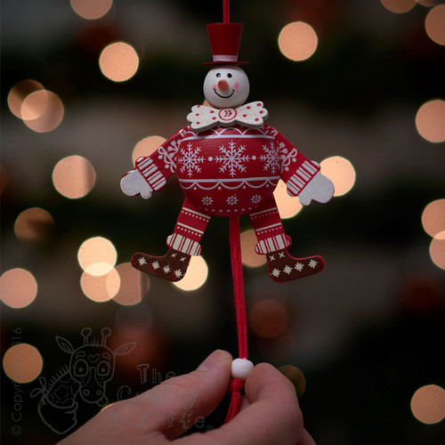 Festive White Bow Tie Snowman Jumping Jack
