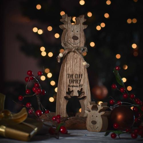 Personalised Standing Wooden Reindeer Decoration