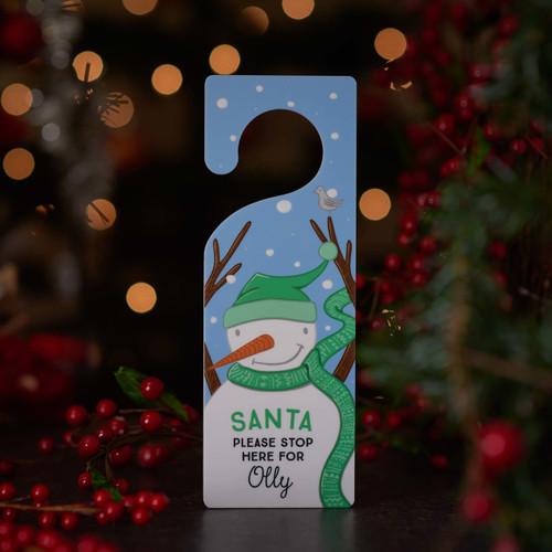 Personalised Snowman 'Santa stop here' door hanger