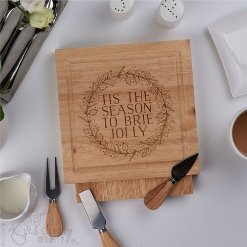 Personalised - Tis the season to brie jolly - board with Knives