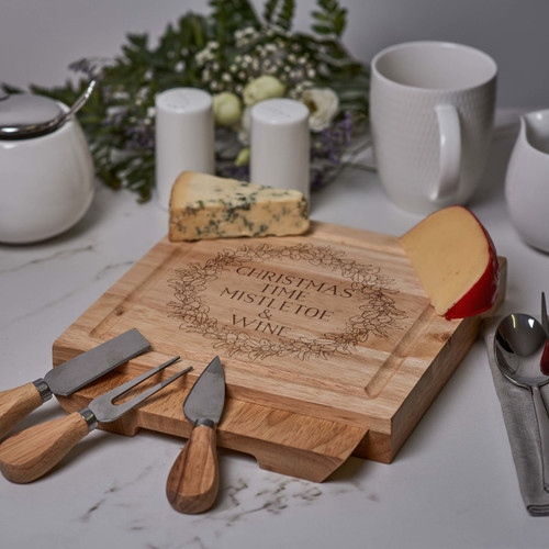 Personalised - Mistletoe and Wine -  board with Knives