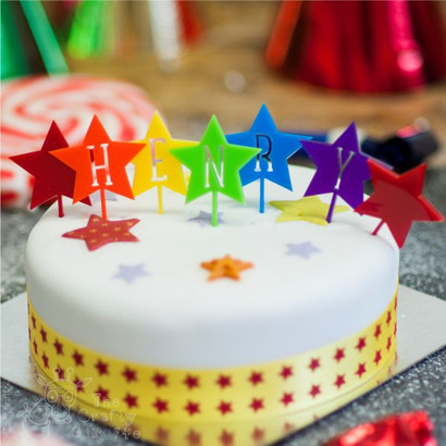 Personalised Rainbow Star Cake Topper The Crafty Giraffe