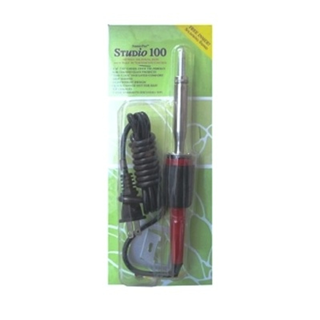 """The Studio 100 soldering iron is a smart choice for production, studio & classroom use. This 100 watt, lightweight design features a built-in temperature control, 1'4"""" chisel tip, """"stay cool"""" insulated handle and quick change nut for easy tip changes."""