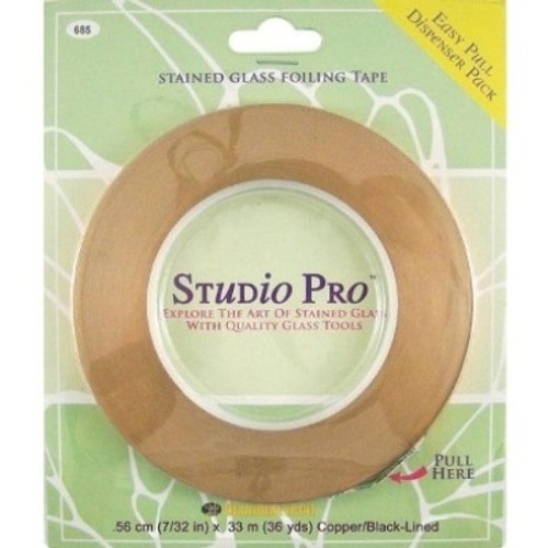 """Studio Pro Foil offers outstanding tack and remarkable resistance to temperature and weathering. All foils attach securely to glass edges and corners to provide a smooth, uniform solder bead. The unique """"Easy Pull"""" plastic dispenser makes for trouble-free application and kink-free storage. This foil is coating with a black backing and is available in 7/32"""" and 1/4"""" widths. Sold in 36 yard roll."""