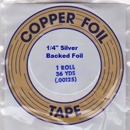 """EDCO foil is made with dead soft copper that conforms easily to the shape of the stained glass. EDCO brand is known for its superior adhesion and resistance to all of the chemicals used in stained glass. This foil is coated with a silver backing, 1.25 mil thickness and is available in 3/16"""", 7/32"""" & 1/4"""" widths. Proudly made in the USA. Sold in a 36 yard roll."""