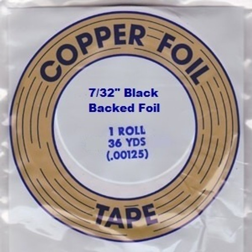 """EDCO foil is made with dead soft copper that conforms easily to the shape of the stained glass. EDCO brand is known for its superior adhesion and resistance to all of the chemicals used in stained glass. This foil is coated with a black backing, 1.25 mil thickness and is available in 3/16"""", 7/32"""" & 1/4"""" widths. Proudly made in the USA. Sold in a 36 yard roll."""