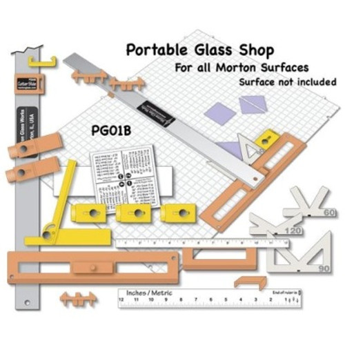 The Morton Portable Glass Shop II is a precision jig cutting system that allows the user to create straight lines and precise angles quickly and easily. Perfect for making lamps, borders, etc. It may look intimidating out of the box, but it's actually a very easy system to set up and operate. Check out the manufacturer at http://www.mortonglass.com/pages/Prod/PG01B/PG01B.html they have tons of information, instructional videos and resources.