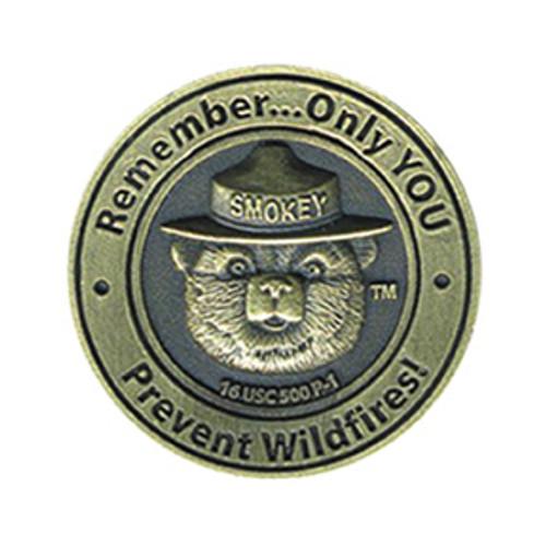 Smokey Bear Round Brass Pin