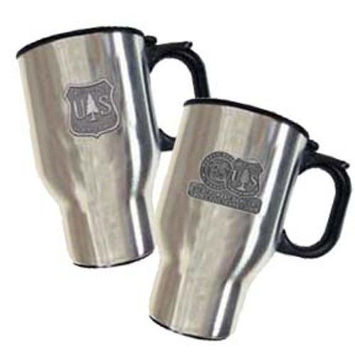 Stainless Steel Mug with Silver Alloy Medallion
