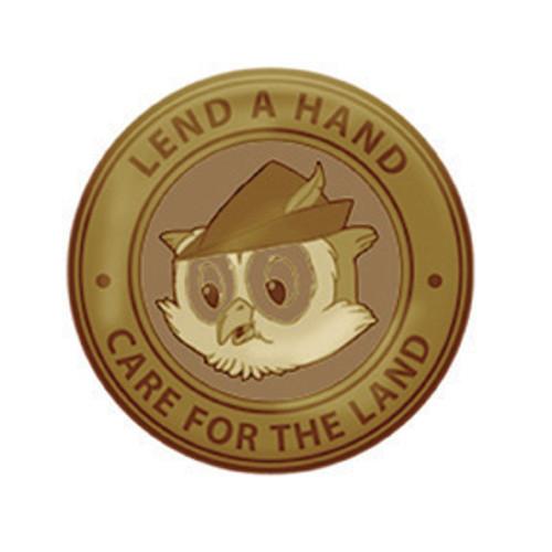 Woodsy Round Slogan Brass Pin