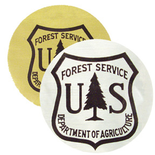 US Forest Service Metallic Shield Sticker-Silver