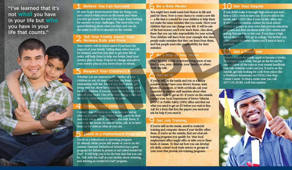 Brochure: 14 Things Dads In Prison Should Do Before Or Right After Release (Corrections)