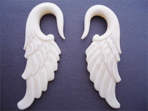 Bone Angel Wing Hooks (12 gauge - 0 gauge)