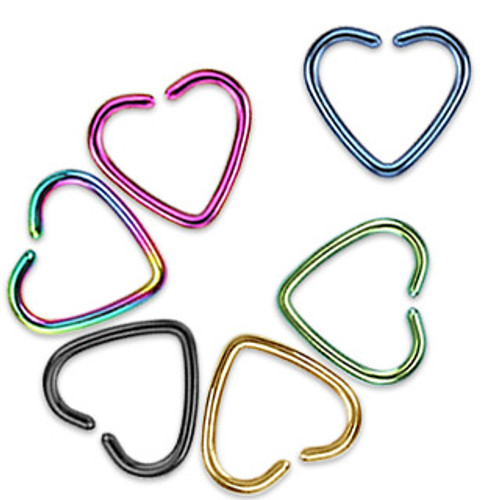 Anodized Heart Rings -- Various Colors (16 gauge)