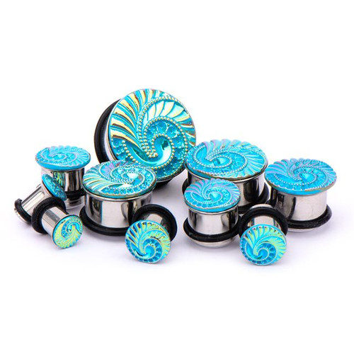 Blue Swirl Plugs (2 gauge - 1 inch)