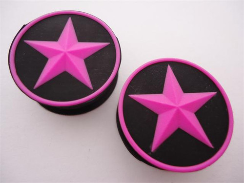 Pink Star Silicone Plugs (2 gauge - 1 inch)