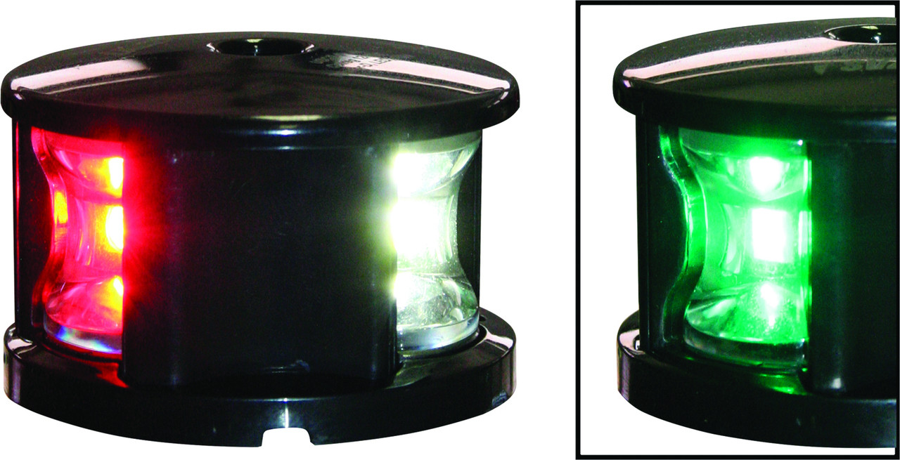 'FOS 12' LED Tri-Colour Nav Light - Black Horizontal mount