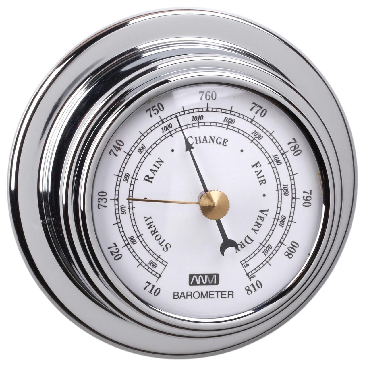 Barometer - 70mm Chrome Plated Brass
