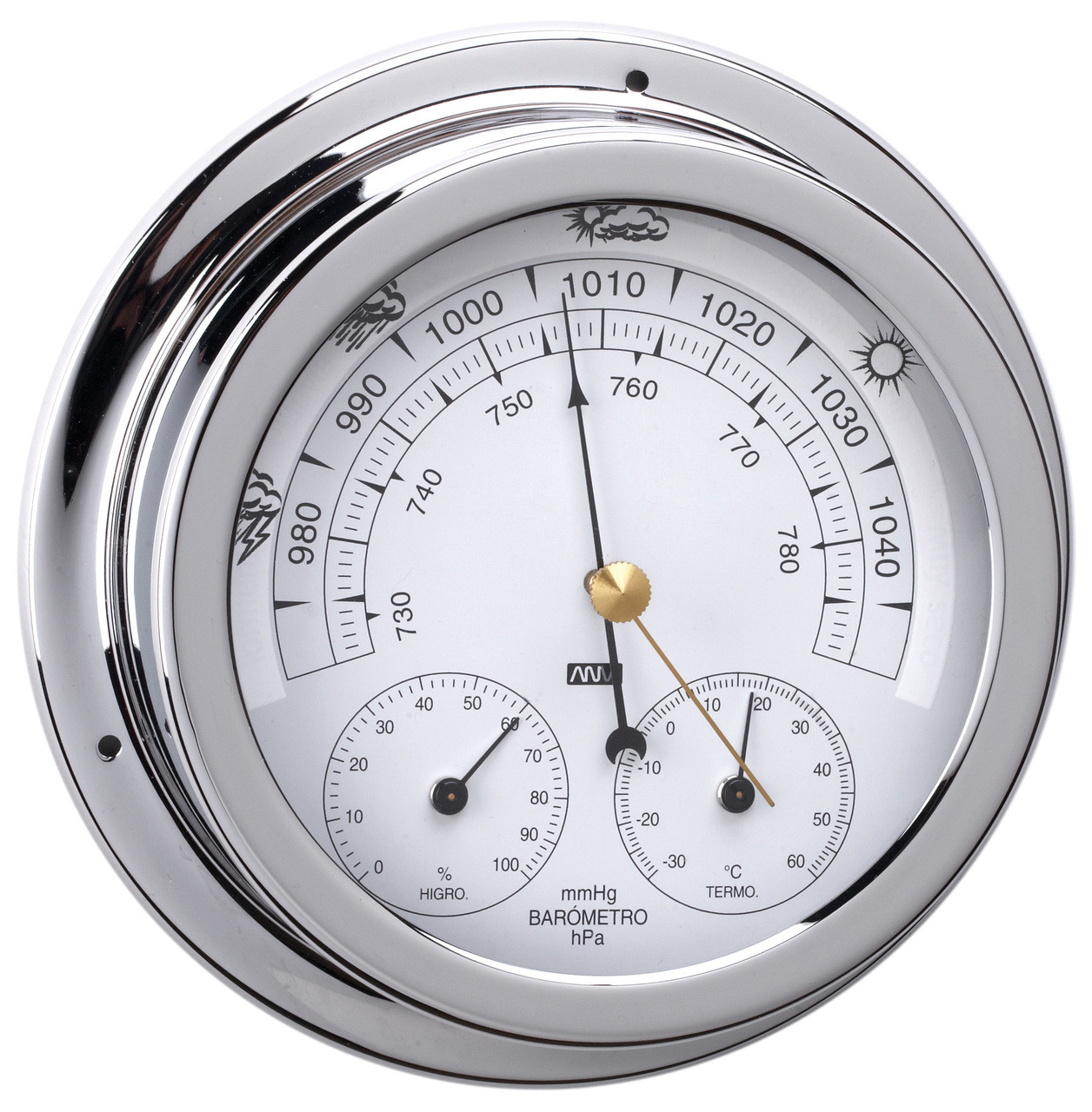 Barometer, Thermometer & Hygrometer Tripe Combo - 120mm Chrome Plated Brass
