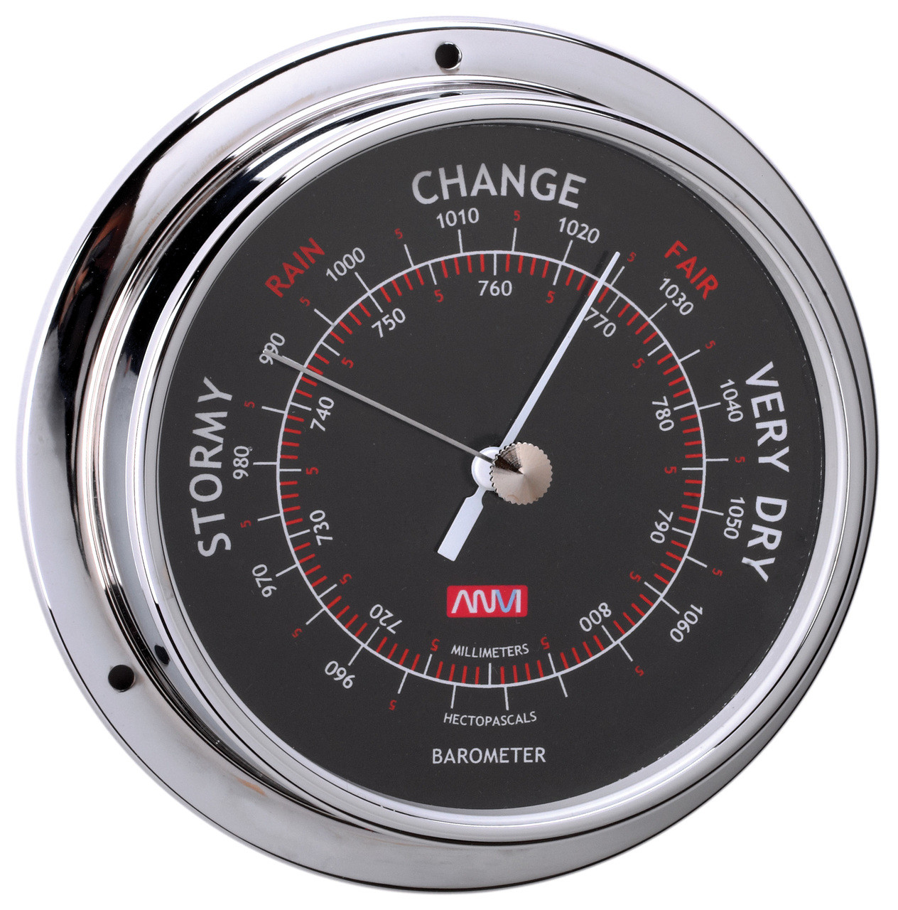 Barometer - 95mm Chrome Plated Brass with Black Face