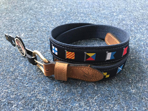 Ocean Rider Handmade Damask Woven Belt with Nautical Flags - Navy