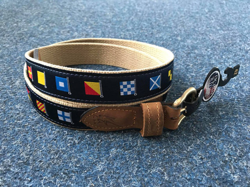 Ocean Rider Handmade Damask Woven Belt with Nautical Flags - Khaki