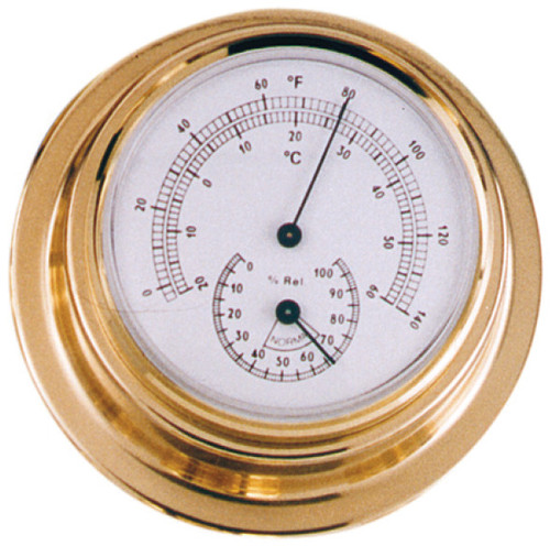 Thermometer & Hygrometer Combo - 70mm Polished Brass