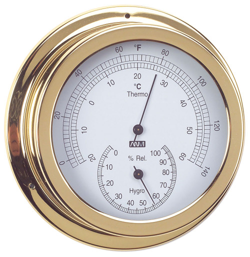 Thermometer & Hygrometer Combo - 120mm Polished Brass
