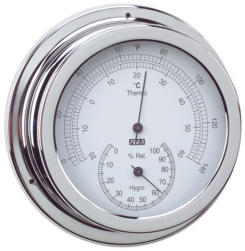 Thermometer & Hygrometer Combo - 120mm Chrome Plated Brass