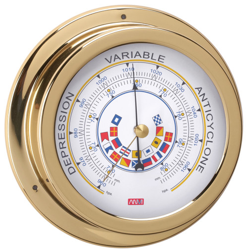 Barometer - 120mm Polished Brass with Code Flags