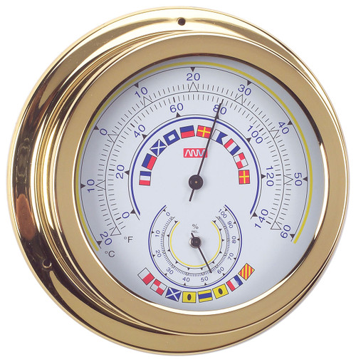 Thermometer & Hygometer Combo - 120mm Polished Brass with Code Flags
