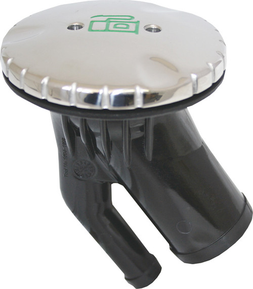 Vented Fuel Deck Fills -  Round Shaped, Angled Stainless Steel Diesel