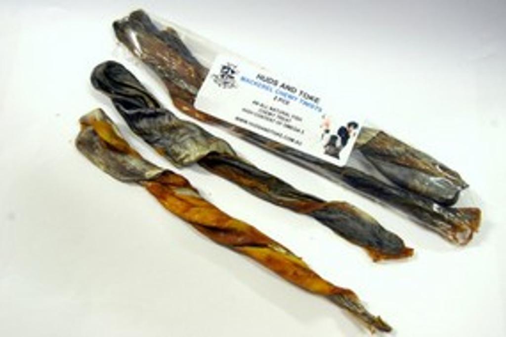 MACKEREL TWIST - 2pce Seafood Dog Treats.  100% Australian Dental Chew