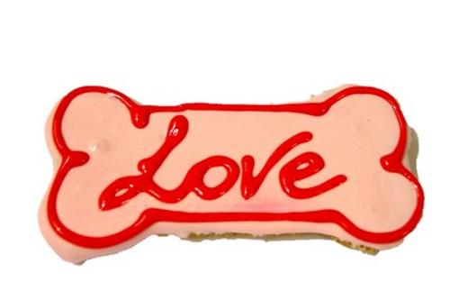 Doggy Large Love Bone Cookie - 14cm - Pink - Gourmet Dog Treat