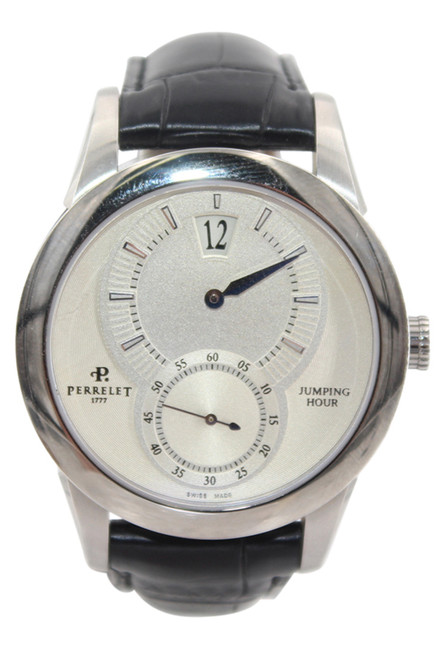 Men's Stainless Steel Perrelet Jumping Hour Automatic - Silver Dial - Ref. A1037