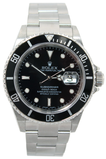Rolex Oyster Perpetual Submariner Date - 40mm - Stainless Steel - Black Dial - Black Bezel - Product 12558 -  Ref. 16610