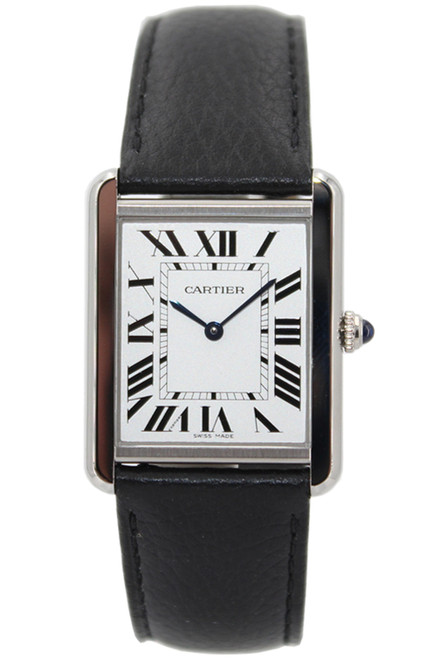 Cartier Stainless Steel Tank Solo - Large - Quartz - Leather Strap - Ref. WSTA0028